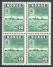 Norway 1943 Sc# 261 Destroyer Sliepner Navy ship block 4 MNH