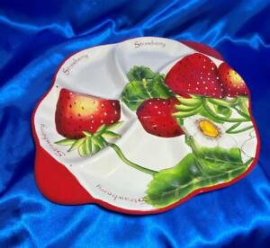 Strawberry Round Divided Serving Tray Platter 14.5 inches Pier One Imports