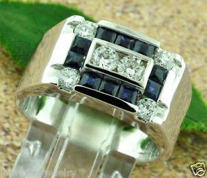 1.54 ct 14k Solid White Gold Men's Diamond & Sapphire Ring classy 9.00 Grams