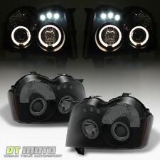 Blk Smoked 2005-2007 Jeep Grand Cherokee LED Halo Projector Headlights Headlamps