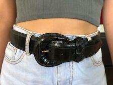 "BRIGHTON Belt Black Embossed Calfskin Saddle Leather Wide 36"" Belt Braided Loop"