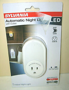 Sylvania Automatic LED Night Light with Integrated Outlet -- Dual Power & Color