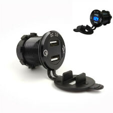Blue LED Black Shell Motorcycle 4.2A Dual USB Port 3.0 Charger Adapter Aluminum
