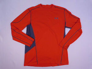 Under Armour Cold Gear Mens Orange Active Long Sleeve Fitted T Shirt Size Large