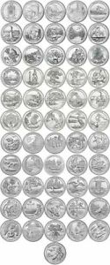 Complete Set Of America The Beautiful Quarters - 56 uncirculated Coins 2010-2021