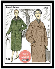 1950's Winter Coat Vintage French Sewing Pattern