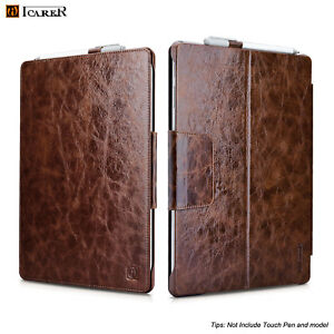 Luxury ICARER GENUINE Leather Folio Case Cover For Microsoft Surface Pro 4 5 6 7