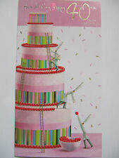 FANTASTIC 4 TIER BIRTHDAY CAKE GLOSS COATED 40TH BIRTHDAY GREETING CARD