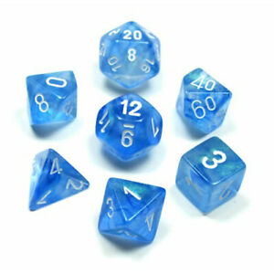 Sky Blue with White Borealis Polyhedral 7-Die Set Chessex CHX27426
