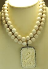 Statement 2 Strand Cream Jasper Necklace &  carved Buffalo Bone Dragon Pendant