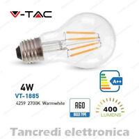 Lampadina led V-TAC 4W = 50W E27 bianco caldo 2700K VT-1885 A60 filamento bulbo