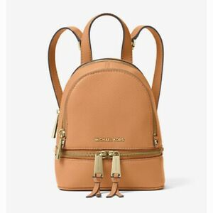 Michael Kors Rhea Mini Leather Backpack Cider