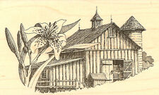 Country Daylily BARN Farm Wood Mounted Rubber Stamp Impression Obsession  NEW