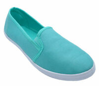 WOMENS GREEN SLIP-ON COMFY CASUAL PLIMSOLLS CANVAS PUMPS HOLIDAY SHOES 3-8
