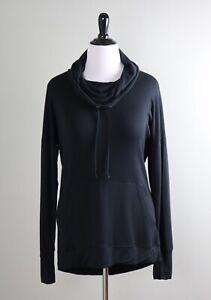 ATHLETA $98 Studio Soft Stretch Solid Black Cowl Neck Sweatshirt Top Size Large