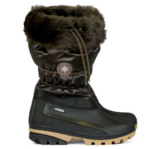 Nora Women's Snow Boots Brown/Black Faux- Fur Lined