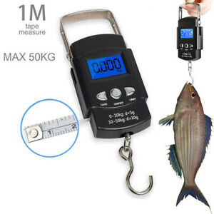 50Kg Digital Scale Fish Luggage Electronic Weighing Scale With Measuring Ruler.