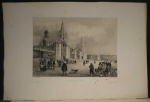 LIMA THE CATHEDRAL PERU 1840 VAILLANT UNUSUAL ANTIQUE ORIGINAL LITHOGRAPHIC VIEW