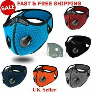 Washable face Mask 2 airvents+filter PM2.5 reusable 1 valve face covering+filtr