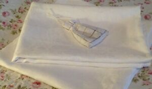 Two x 2 Antique Vintage, Extra Large, White Damask Irish Linen Tablecloths