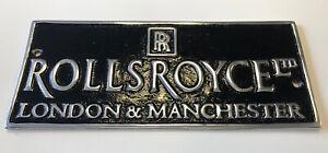 ROLLS ROYCE Manchester & London polished Cast Aluminum SIGN