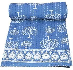Indian Kantha Quilt Throw Blue Bedspread Twin Size Hand Block Print  Cotton