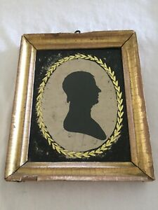 Early Peale's Museum Silhouette Of A Young Man w/Original Eglomisé Glass & Frame