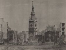 CHEAPSIDE. Bow Church, by Reginald Riley 1947 old vintage print picture