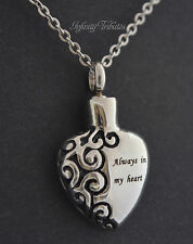 Always In My Heart Keepsake Necklace - Cremation Urn - Pendant Holds Ashes Sand