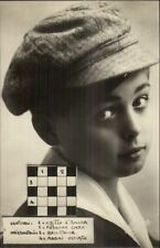 Little Italian Boy - Crossword Puzzle c1910 Real Photo Postcard #1