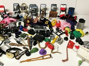 HUGE LOT of WRESTLING ACTION FIGURE ACCESSORIES Belts Clothes Chairs Bats & More