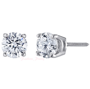 Pretty 1 Carat Natural, Colorless Diamond Stud Earrings In 14 Karat White Gold