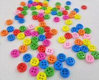 100 x Wooden Colorful Sewing Buttons Scrap Booking Card Making Arts & Craft