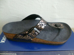 Birkenstock Gizeh Toe Post Mules Metallic Black 1008865 New