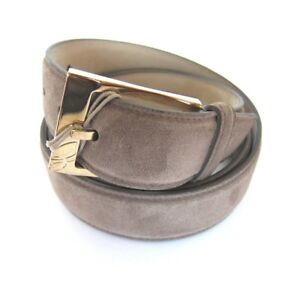 B-421074 New Brioni Taupe Suede Leather Solid Brass Gold Buckle Size 42 Fits 40
