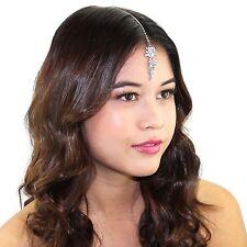 Crystal Prom Bridal Dainty Chain Headpiece Mang Tikka Indian Grecian Hair Piece