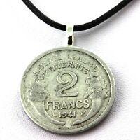 Collier pièce de monnaie France 2 francs Morlon Aluminium-magnésium