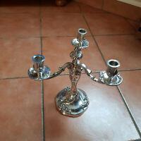 superbe chandelier bougeoir 3 feux en bronze argenté ROUX-MARQUIAND art déco
