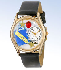 Whimsical Watches Womens C-0640009 Gold-Tone HISTORY TEACHER Black Leather WATCH