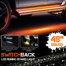 2x Amber White 48'' 120SMD LED Strip DRL Turn Signal Indicator Side Marker Light