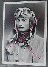 original Foto Portrait Flieger mit Kopfhaube & Fliegerbrille