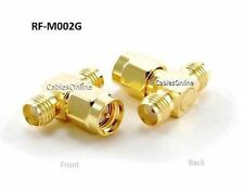 SMA Jack-Plug-Jack 1 Male/2 Female RF coaxial Gold T-Adapter, RF-M002G