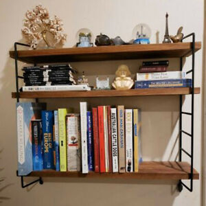 3 Tier Large Wall Shelf Home Office Storage Shelving Unit with Adjustable Boards