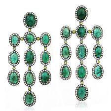 18k Gold 27.55ct Emerald Diamond Sterling Silver Chandelier Earrings For Women