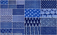 10 Yard Lot Indigo Blue Hand Block Print Indian Fabric Dabu Print Cotton Fabric