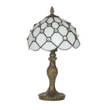 "Tiffany Style 8""Vintage Look Table Lamp & Beaded White Glass Shade (Cloughton)"