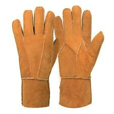 Newest Men's Winter Genuine Brown Sheepskin Leather Shearling Fur Warm Gloves