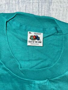 Vintage 90s XL TEAL Fruit Of The Loom Mens Blank Single Stitch T Shirt USA Made