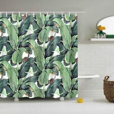 Banana Leaves Pattern Water Resistant Shower Curtain Bathroom With 12 Hooks