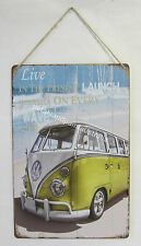 Rustic Country Tin Sign Plaque With Beach & Combi Kombi Live in the Present